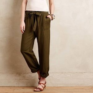 Anthropologie Cartonnier Paperbag Linen Trousers